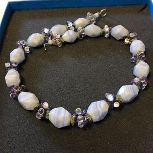 """.925 Ross Simons Chalcedony Amethyst Necklace 17"""""""